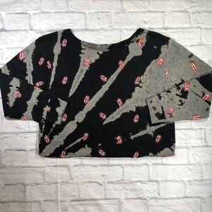 Custom Rolling Stones Lips Tie-Dye Cropped Sweater